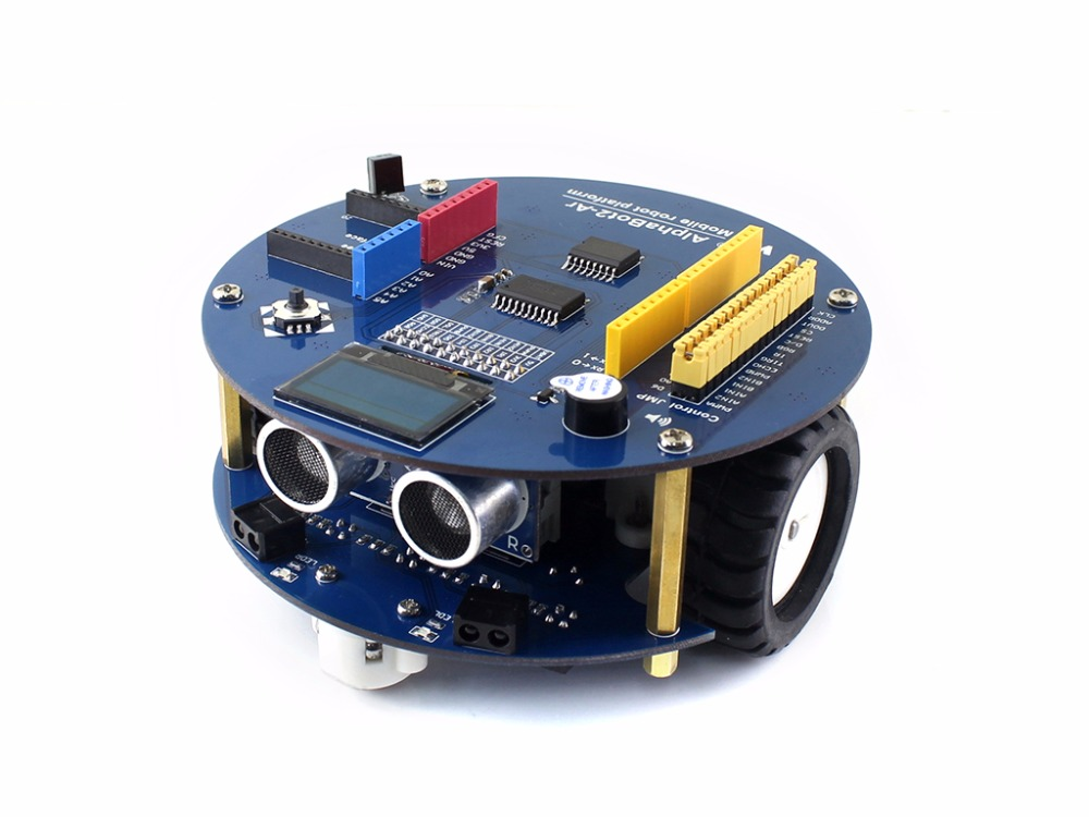 Waveshare AlphaBot2 robot building kit for Arduino features line tracking obstacle avoiding Bluetooth communication IR control alphabot2 ar robot building kit for uno plus ultrasonic sensor obstacle avoiding ir remote controller dual mode bluetooth