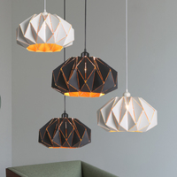 European Simple pendant lights, Wrought iron polygon hollow pumpkin droplight, household Restaurant decorative home lighting