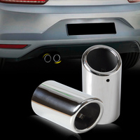 DWCX 2Pcs Chrome Stainless Steel End Exhaust Tail Rear Muffler Tip Pipe Tailpipe For VW Scirocco