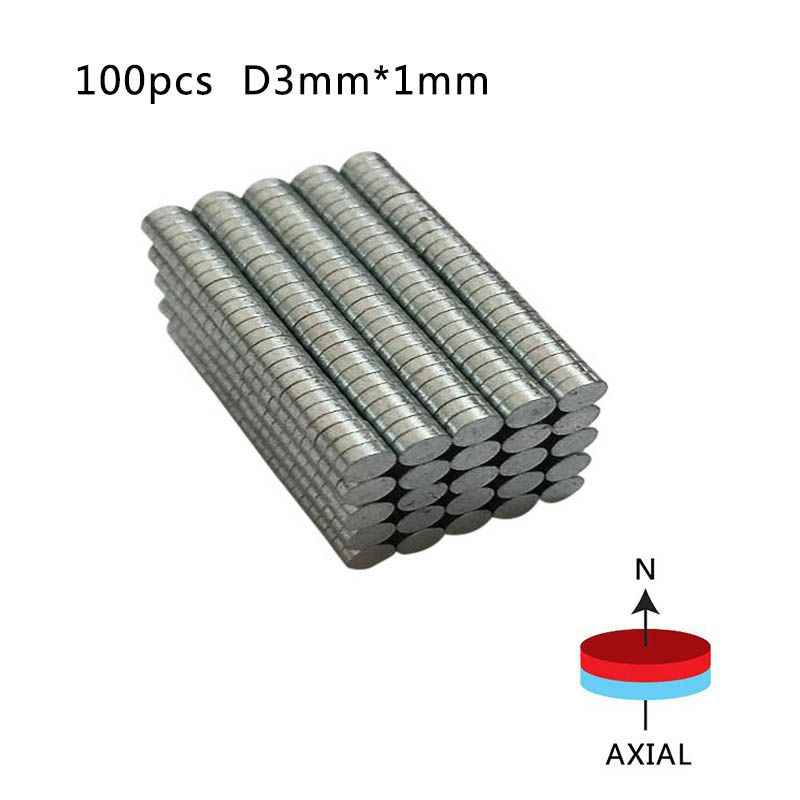 Rodada Ndfeb Neodímio Disco Ímãs Dia 3mm x 1mm SY2 N50 Super Poderosas Strong Rare Earth Ndfeb Magnet 100 peças/pacote