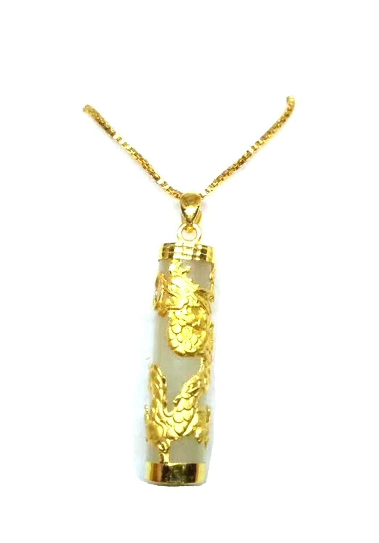 Koraba Fine Jewelry Pure 999 24K Yellow Gold White Jade 3D Dragon Column Pendant Free Shipping