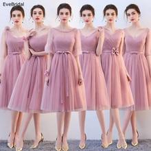 Купить с кэшбэком New Pink Silver A Line Lace Sashes Knee Length Bridesmaid Dresses Wedding Party Dress Size 4 6 8 10 12