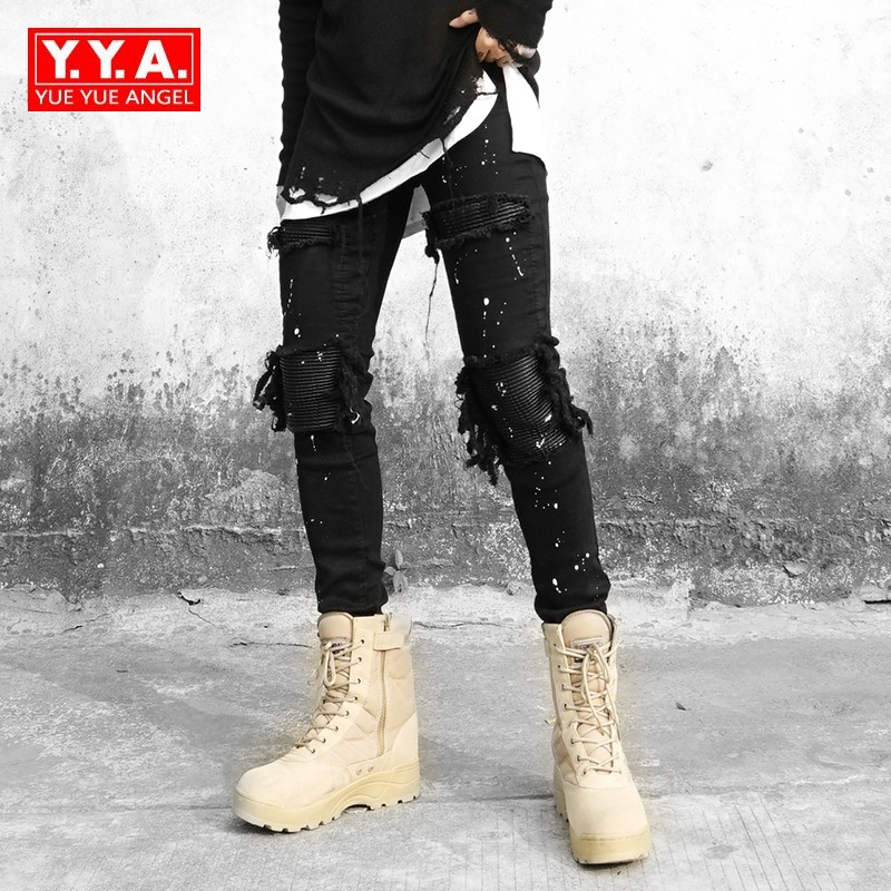 High Street Patchwork Leather Knee Ripped Stretch Jeans Men Slim Fit Pencil Pants for Man Punk Black Long Trousers Men Cowboy