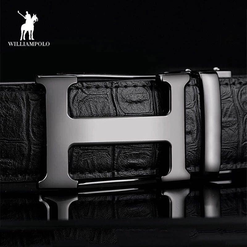 2019 Luxury Men   Belt   Genuine Leather Cowhide Jeans   Belt   H Shape Business Waist Black   Belt   17135P