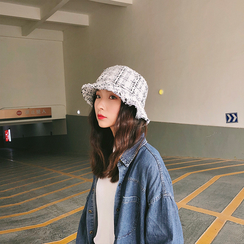 c3d74d471fc 2018 Autumn Winter Runway look Women Bucket Hat Chic Black and White Plaid  Caps Fisherman Panama High Quality Tweed Hats-in Bucket Hats from Apparel  ...
