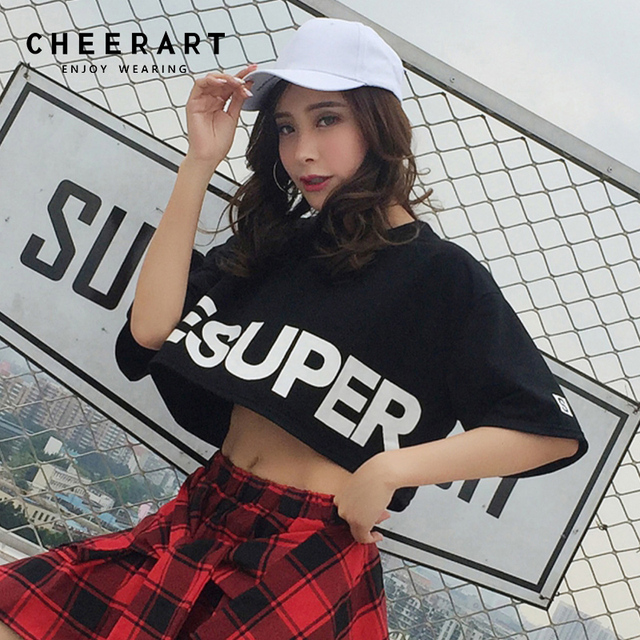 4cd716c5c540e Cheerart Jazz Dance Tops Crop Top T Shirt Women Black Letter Print Summer  Tee Shirt Femme