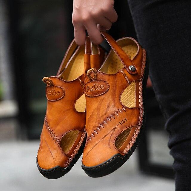 Мужские кожаные сандалии в классическом стиле, красно-коричневые сандалии с резиновой подошвой, для улицы и пляжа, обувь для походов, обувь ... 5