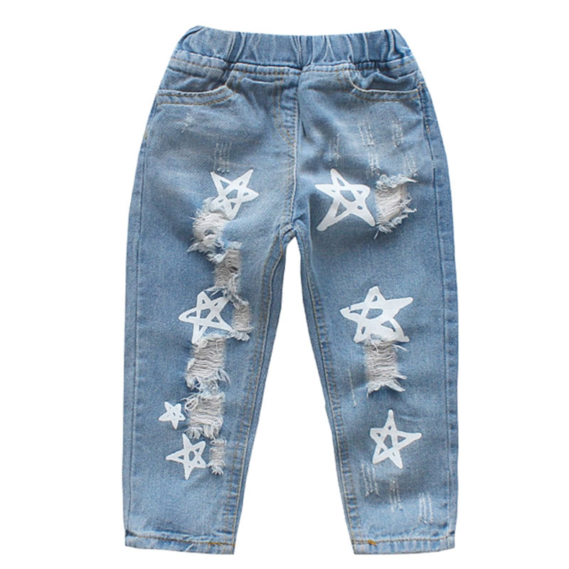DZIECKO Girls Hole Jeans 2018 New Summer Brand Girls Clothes Cowboy Pants Star Pattern Ripped Trousers Baby Girls Jeans For 1-6Y fashion casual women brand vintage high waist skinny denim jeans slim ripped pencil jeans hole pants female sexy girls trousers
