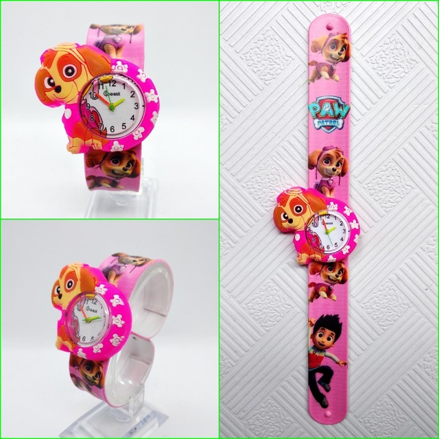 1pcs/lot free shipping High Quality silicone slap watch, kids slap watch doggy team children watches, girls boys students clock