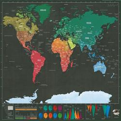 Deluxe Erase Black World Map Scratch off World Map персональные дорожные наклейки на стену