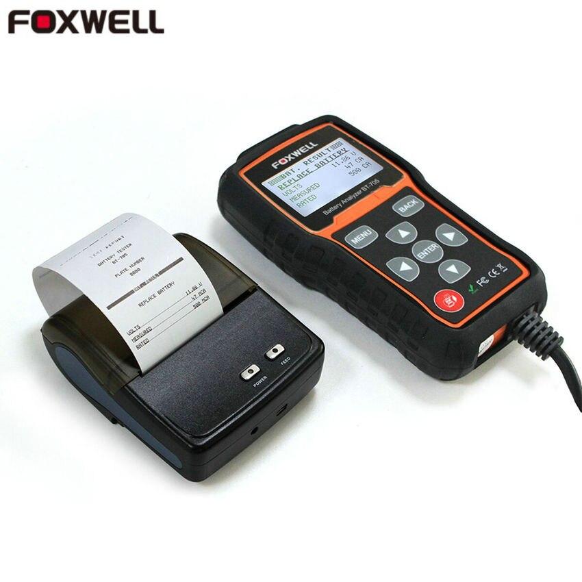 Цена за 2017 Foxwell BT705 Батарея анализатор тест 12 В и 24 В проверьте Батарея здоровья Батарея тестер Foxwell BT-705 с Bluetooth принтер