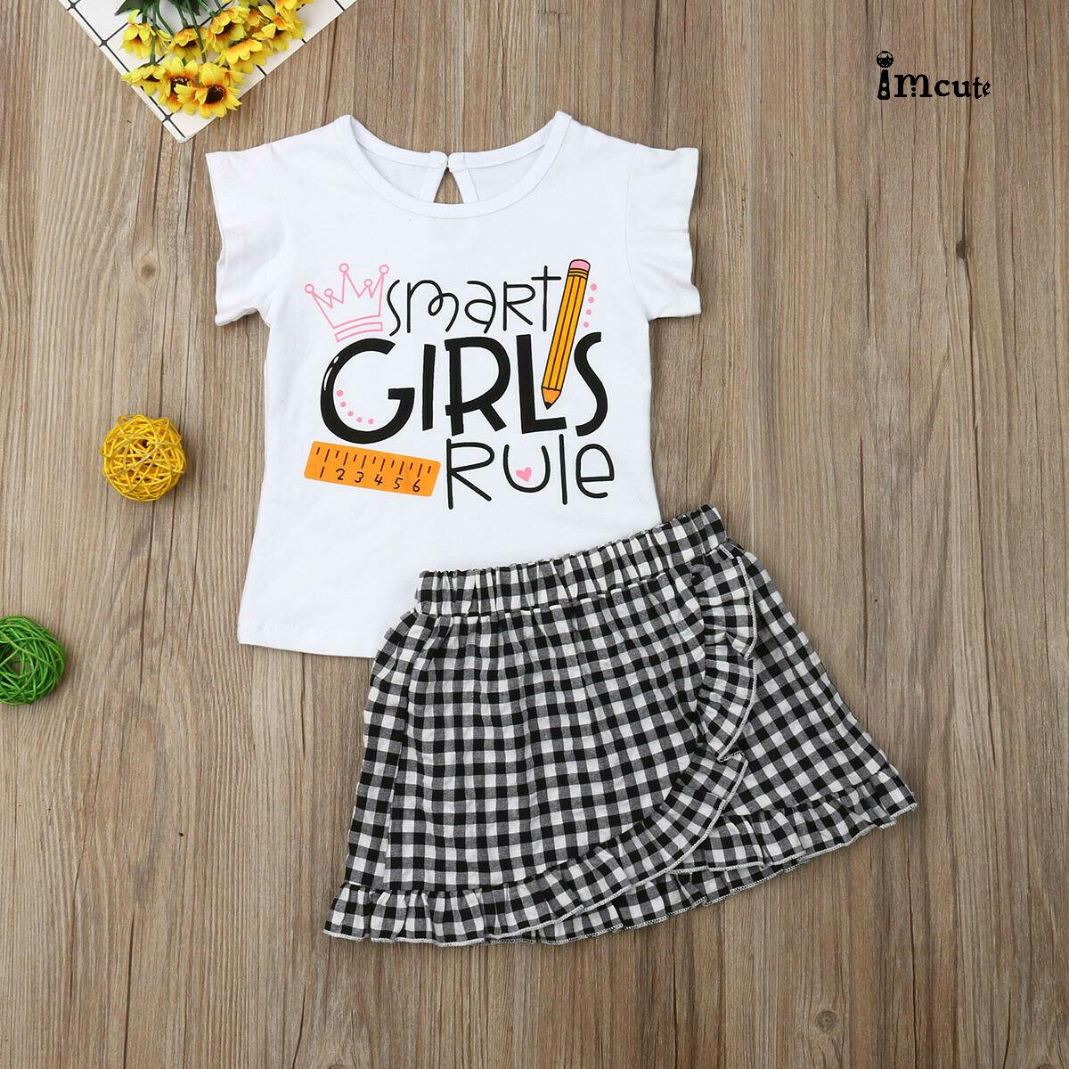 UK 2PCS Toddler Kids Baby Girls Dress Outfits T Shirt Tops Short Skirt Clothes