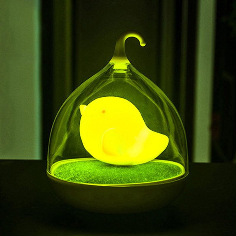 Colorful 3D Bird Cage USB Rechargeable LED Baby Night Light Beside Lamps Dimmer Vibration Sensor Night Lights LB88