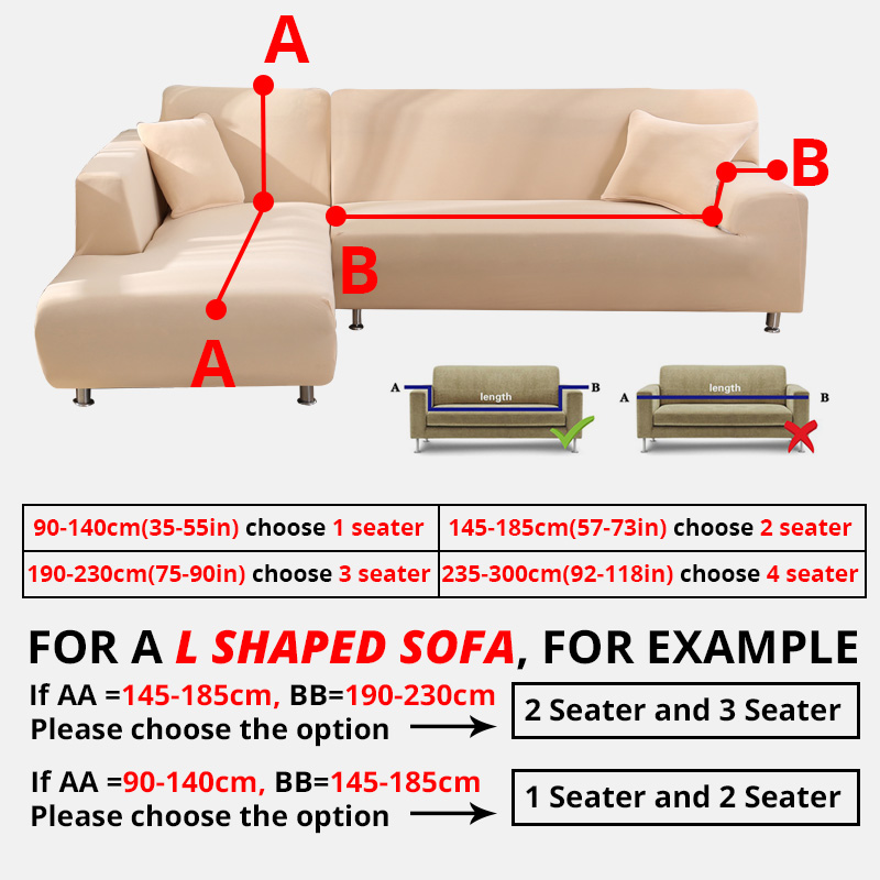 2 Pcs Couch Covers for Corner L Shaped Sofa with Elastic and Straps for Living Room 1