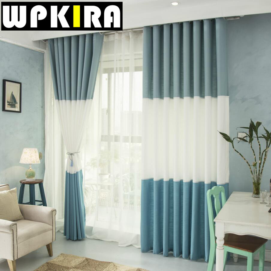 Blue curtains for living room - Pink Blue Curtains Living Room Japan Solid Linen Semi Shade Blue Cloth Window Curtain Panels