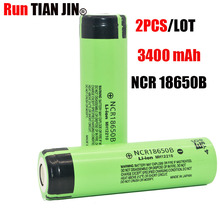 2 PCS  100% New Original 18650 NCR18650B 3400 mAh battery  3.7 V li-ion Recarregavel + Frete gratis 18650 battery electronic cig