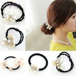 PF Rose fleur strass bandeaux élastique cheveux caoutchouc bandes femmes coiffure filles chapeaux camélia cheveux Accessoires TS1119