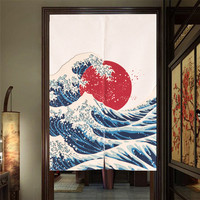 Creative Japanese Style Noren Mount Fuji Embellished 85x120cm Sea Scenery Printed Door Curtains For Noodle Store