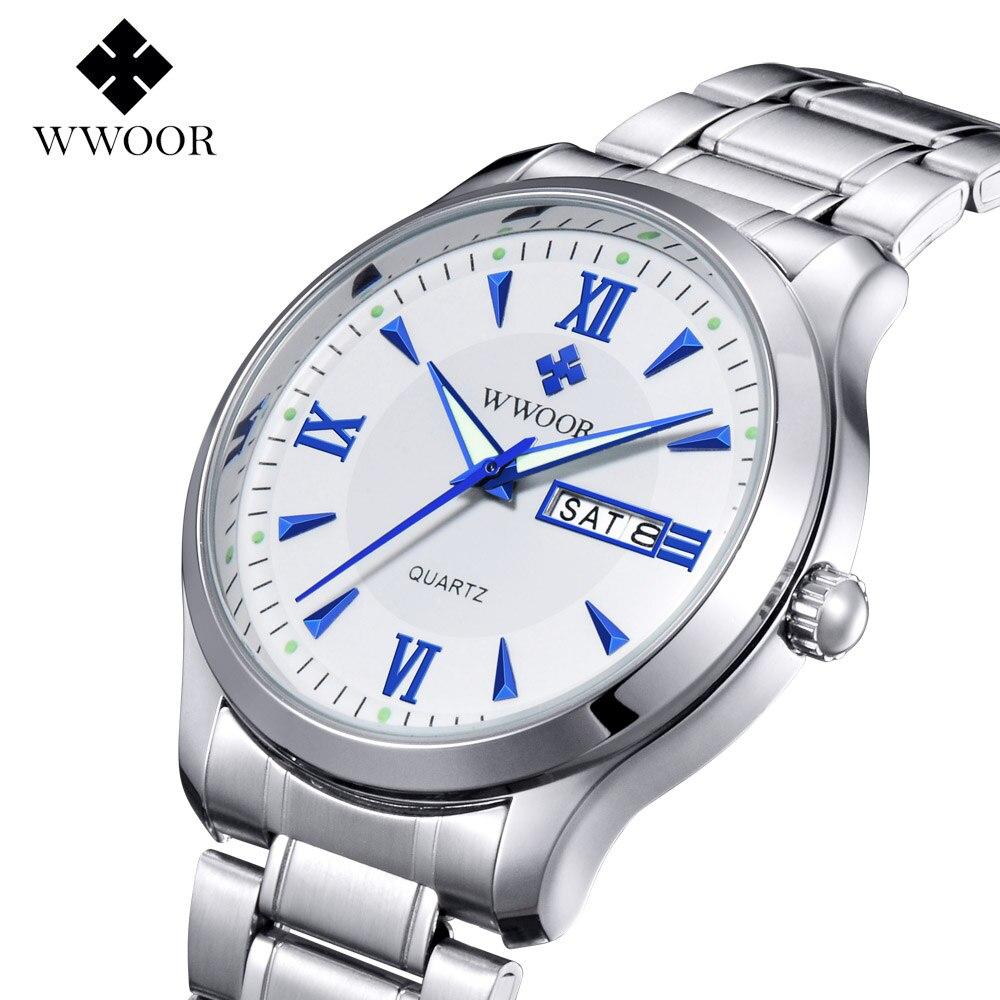 Brand WWOOR Men's watches business quartz-watch orologio uomo quartz watch men vintage calendar relogio masculino