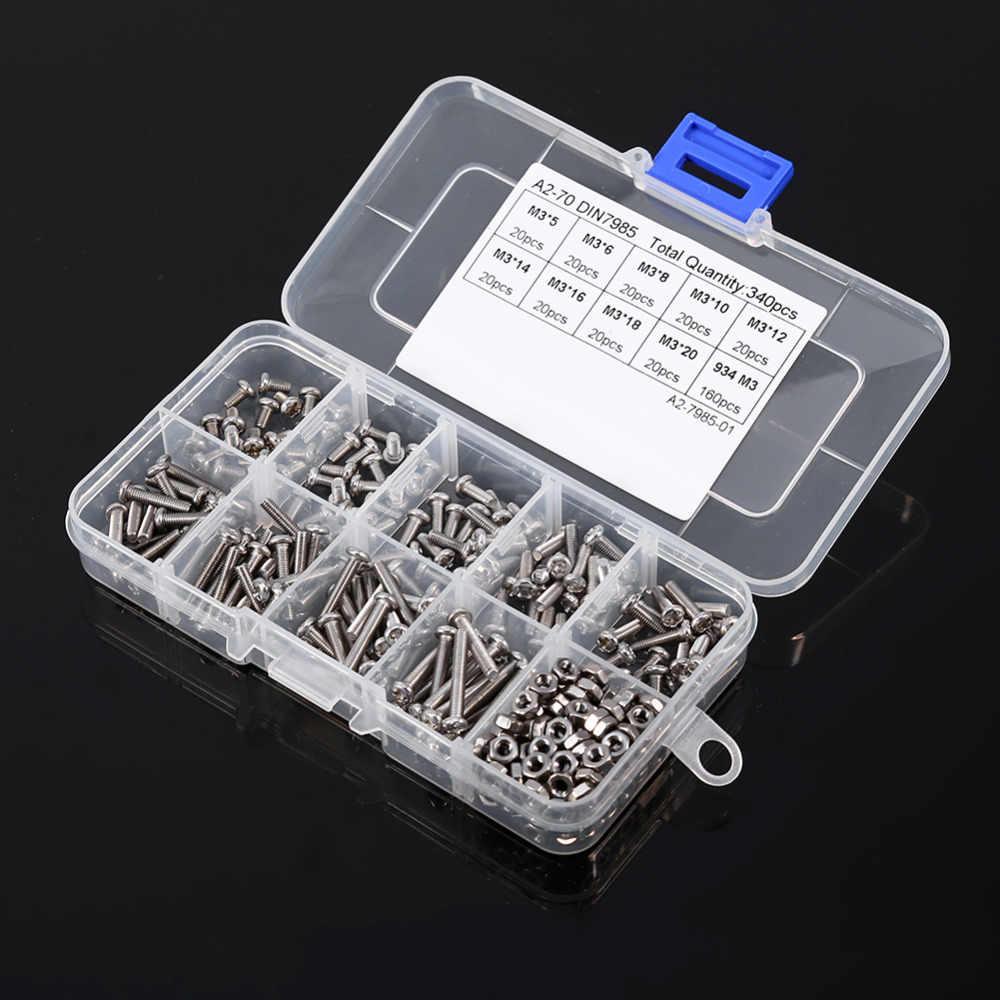 340 pçs/set M3 Parafusos Porcas Porcas Hex Parafusos de Cabeça Panela de Aço Inoxidável Kit Sortido Prendedor Hardware Ferramentas Para Trabalhar Madeira