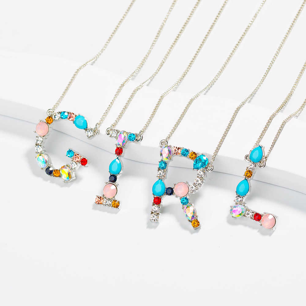 Wholesale fashion J CZ charm Silver 26 Alphabet letter pendant necklace micro pave zircon initial letter necklaces
