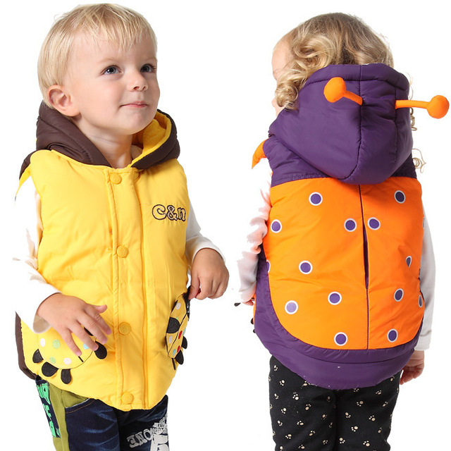 Retail! Top Quality Brand Baby Boys Girls Vest Fashion Cartoon beetle Style Thicking Cotton Jacket Winter Kids Hooded Waistcoat