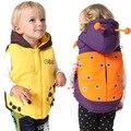 Varejo! Top Qualidade Da Marca Do Bebê Das Meninas Dos Meninos Colete Moda Estilo Dos Desenhos Animados beetle Thicking Jaqueta de Algodão Crianças Inverno Colete Com Capuz