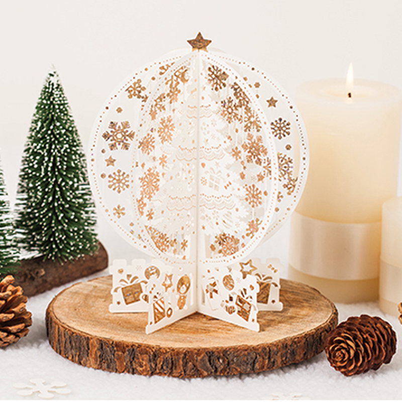 "(2 pieces/lot) ""Merry Christmas"" 3D Pop Up Cards Laser Cutting Christmas Tree Ivory Color 3d Greeting Card With Envelope GX6163"
