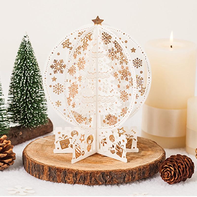 """(2 unidades / lote) """"Feliz Navidad"""" 3D Pop Up Tarjetas de corte por láser de árbol de navidad color marfil tarjeta de felicitación 3d con sobre GX6163"""