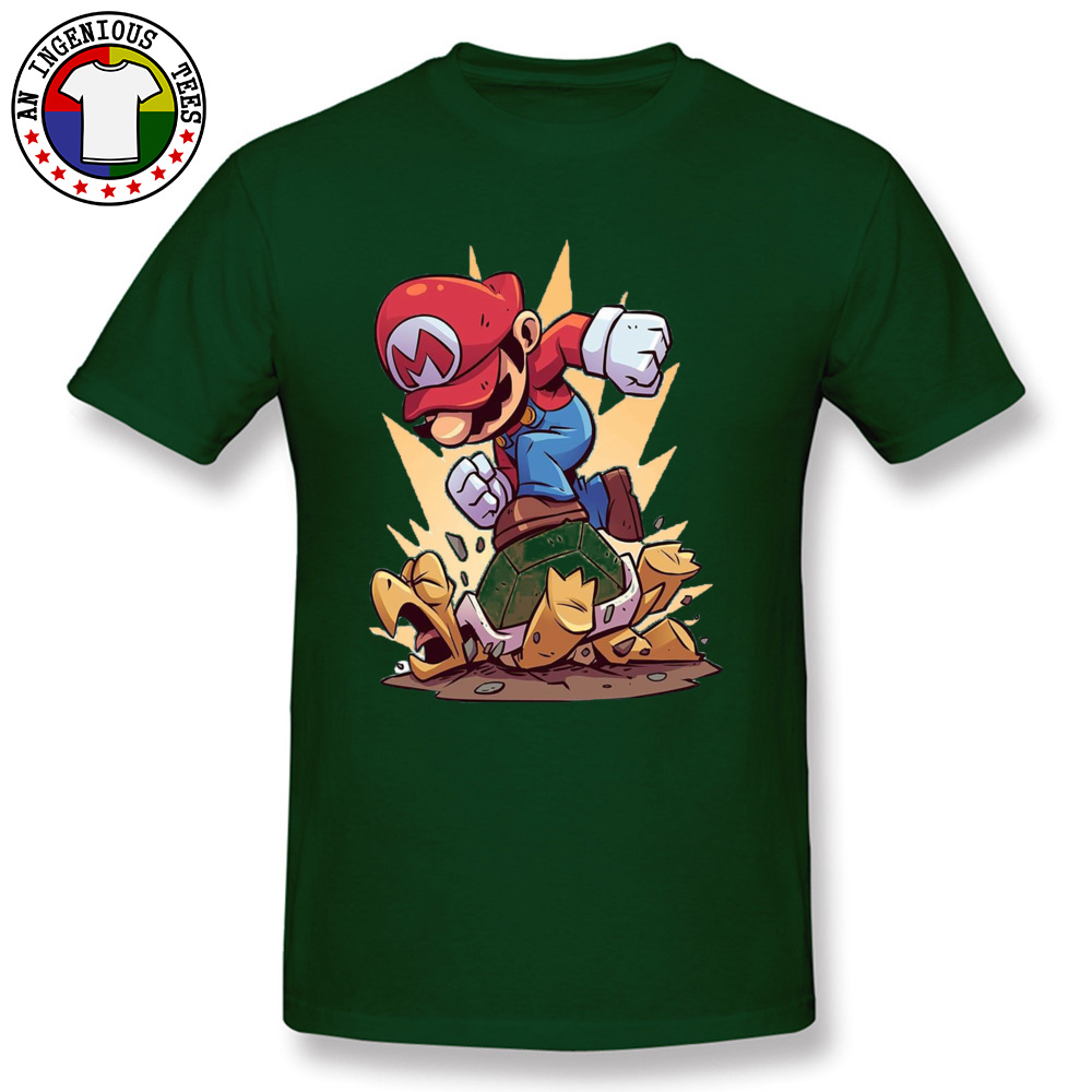 Pow Super Mario Trample Funny T Shirts Cartoon Video Game Bro Mario Plumber Tshirt For Men Young Design ACDC Comic Tees in T Shirts from Men 39 s Clothing