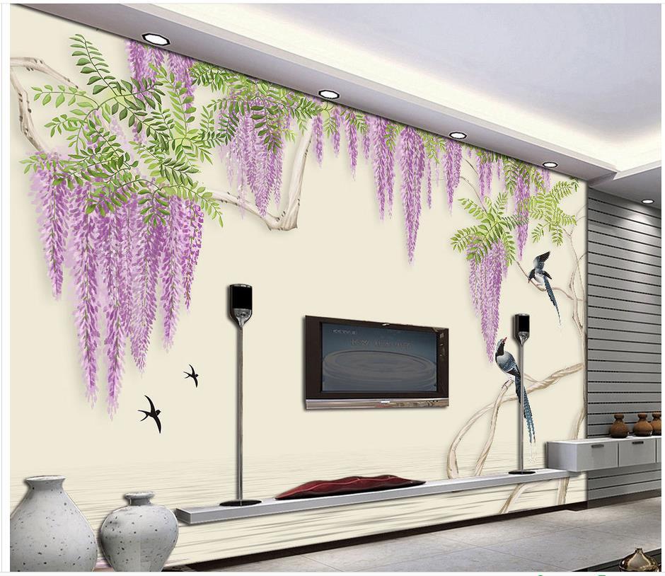 3d Wall Murals Wallpaper Wisteria Dream Orchid Bird Wallpaper 3d Flower  Home Decoration Photo Mural Wallpaper