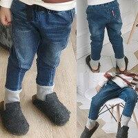 Calças de Brim das crianças para meninos das meninas calças de brim calças lápis calças Jeans Skinny rib inferior Do Bebê Crianças Primavera Outono calças casuais macios