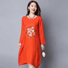 New Spring Women dress Loose O-Neck Full Sleeve 61702017 Long Folk Embroidery Cotton And Linen Dresses Orange Navy 9779