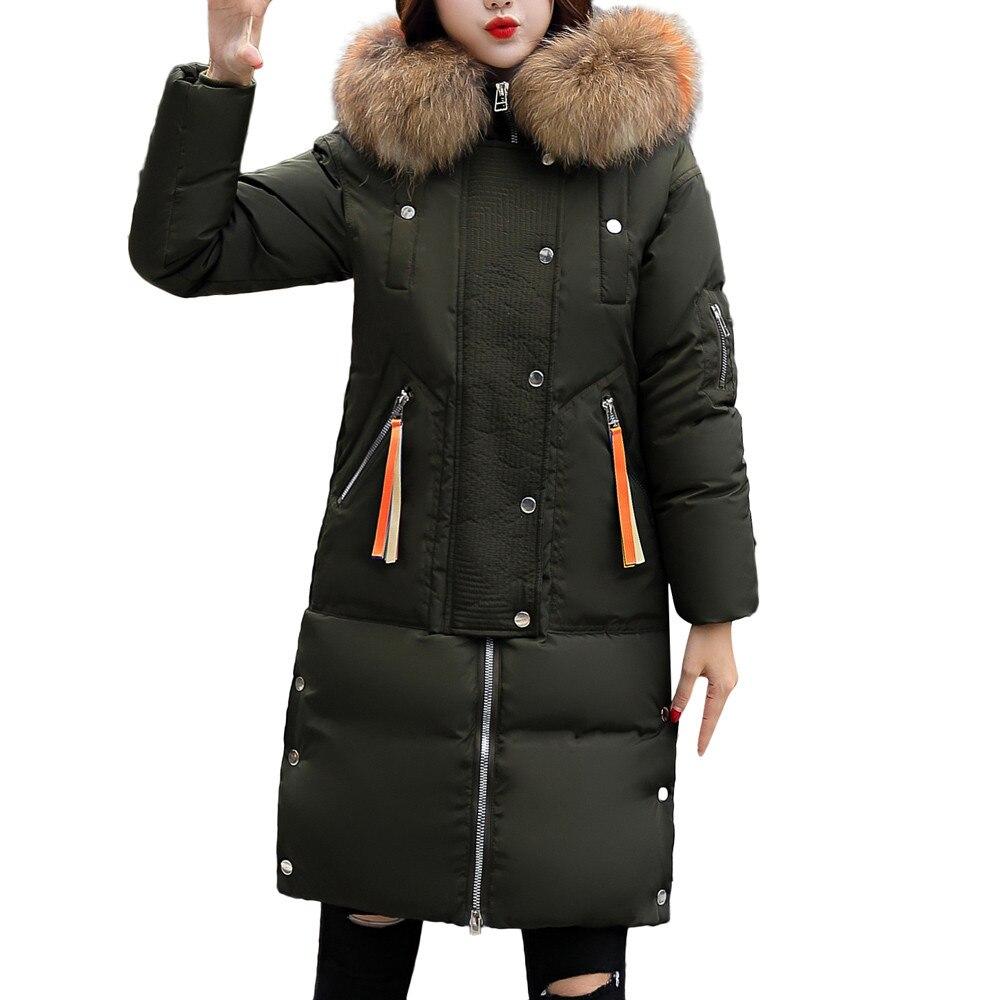 gris vert 2018 Fourrure Épais À Parkas Chaqueta Veste Slim Noir Mode Femmes En Feminino Capuchon Chaud Hiver rouge Manteau kaki Longue Fausse HqHUwxgr
