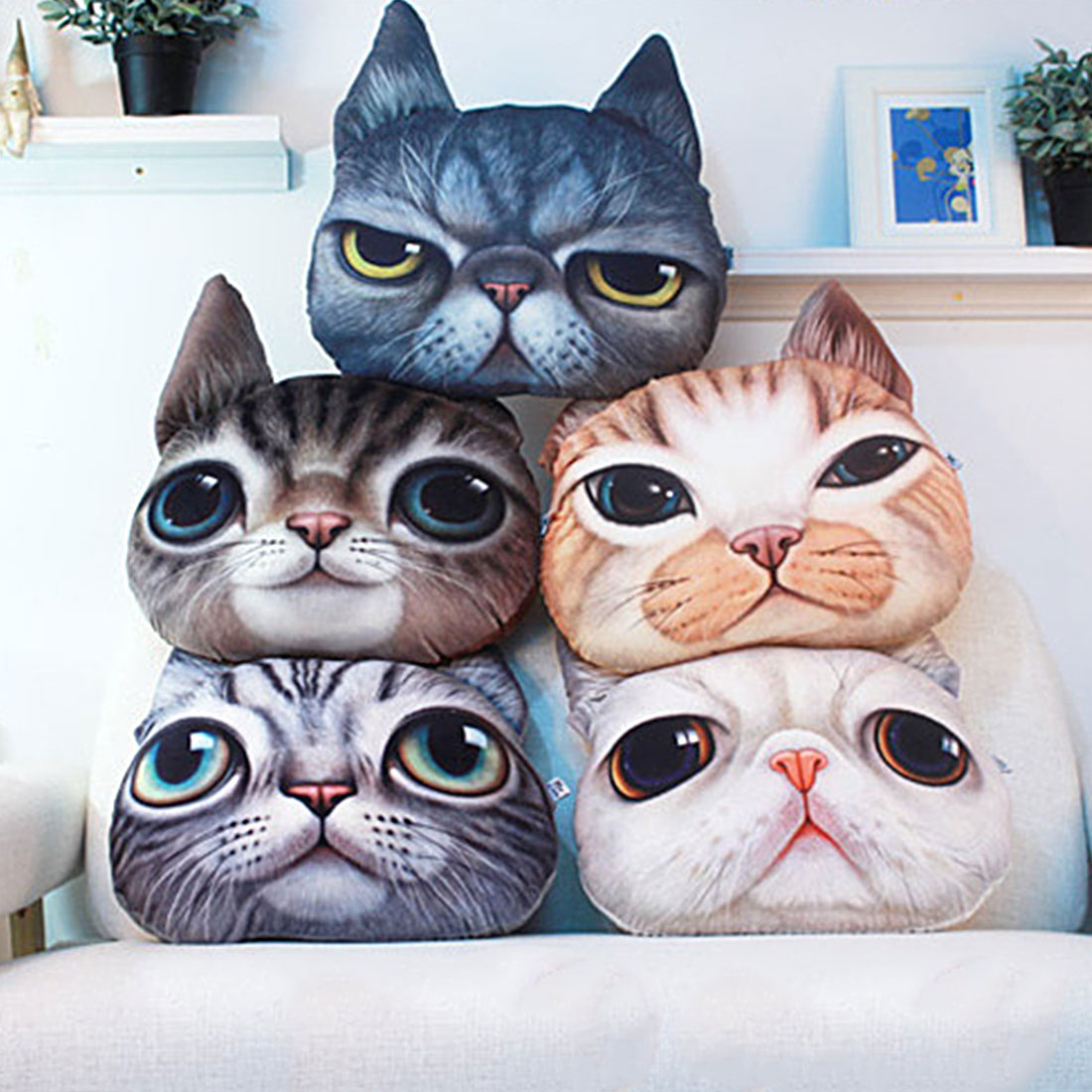 40cm*38cm Pillow Cushion Personality Car Cushion Creative Cat Shape Nap Smiley Face Pillow Gift Cute Seat Coussin