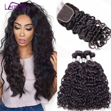 LeModa Malaysian Water Wave 4 Bundles with closure 5pcs/lot Human hair with closure Remy hair Weave Extensions(China)
