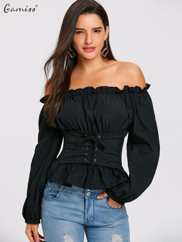 2fc5ca5a13f Gamiss-Femme-Blouses-Chemises-Noir-Femmes-De -Mode-Off-The-Shoulder-Lace-Up-Smocks-Blouse-Casual.jpg