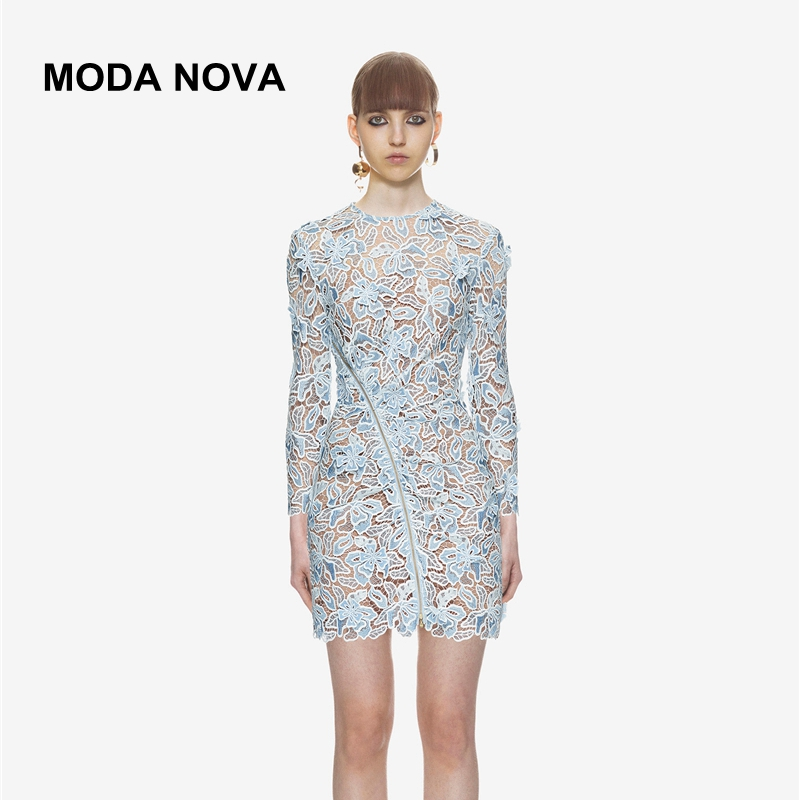 MODA NOVA Selbst Porträt Pullover Frauen Striped Aushöhlen Lange Laterne Hülse Jumper Pullover 2018 Herbst Winter Gestrickte Tops