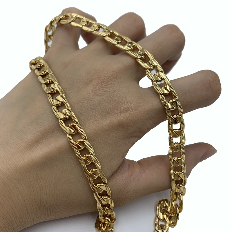 USENSET Fashion Jewelry 8MM Line Pressing Miami Cuban Link Chain Hip Hop Necklace Stainless Steel Gold Color Chain in Chain Necklaces from Jewelry Accessories