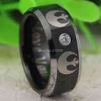 Free Shipping USA Canada Russia Brazil Hot Sales 8MM Black Silver Bevel&CZ Star Wars REBEL ALLIANCE Men's Tungsten Wedding Ring