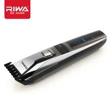 Riwa K3 Waterproof Rechargeable Hair Trimmer LCD Display Men's Cool Hair Trimmer Black One Pc Attached Comb Design Hair Trimmers