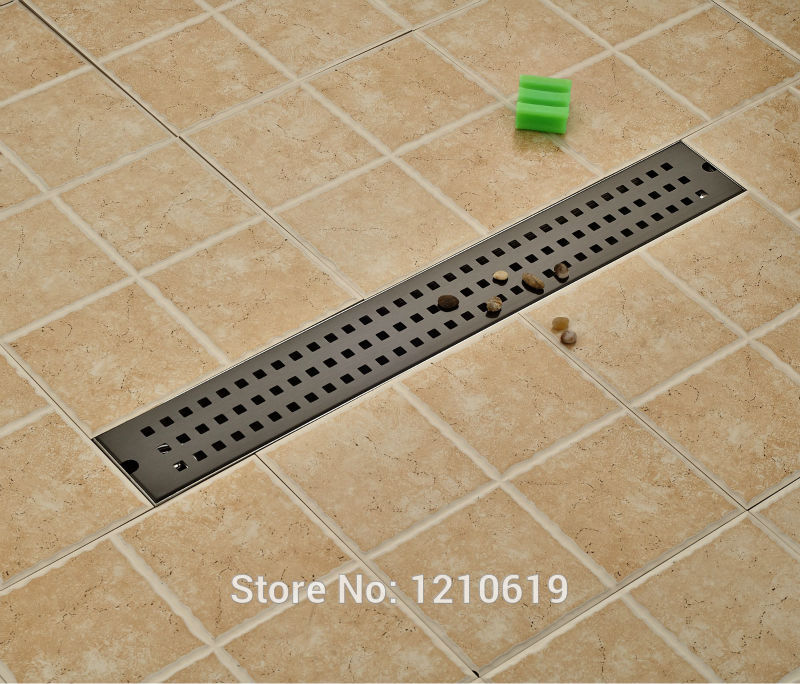 Newly Oil Rubbed Bronze Bathroom Floor Drain Shower Strainer 70*10cm Stainless Steel Balcony Floor Filler modern 90 10 cm oil rubbed bronze style deodorization grate waste floor drain floor mounted