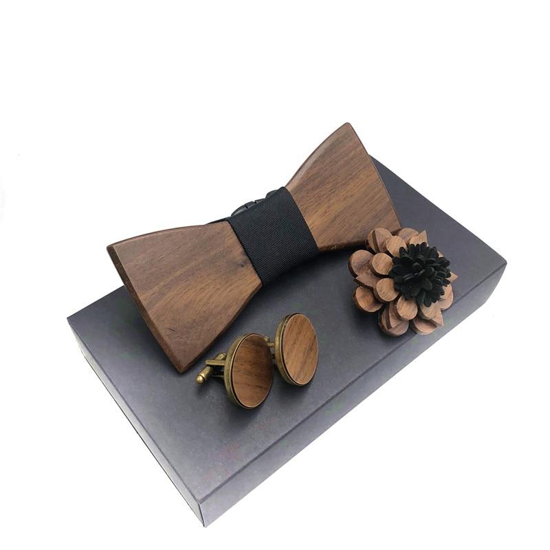 Bekleidung Zubehör Kenntnisreich Holz Fliege Set Männer Holz Brosche Und Manschettenknöpfe Holz Fliege Taschentuch Set Männer Plaid Bowtie Holz Hohlen Geschnitzt Cut