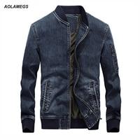 Aolamegs Men S Denim Jackets Men Casual Plus Velvet Top Coats Large Size Long Sleeve Stand