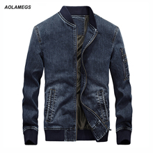 Aolamegs Men 's Denim Jackets Men Casual Jeans Coat Large Size Stand Collar Fashion Male Brand Baseball Jackets Outwear Homme