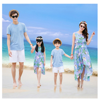 Family Matching Clothes Baby Girls Dress Summer Beach Style Mermaid Cloths Cotton Boy T Shirt Sets