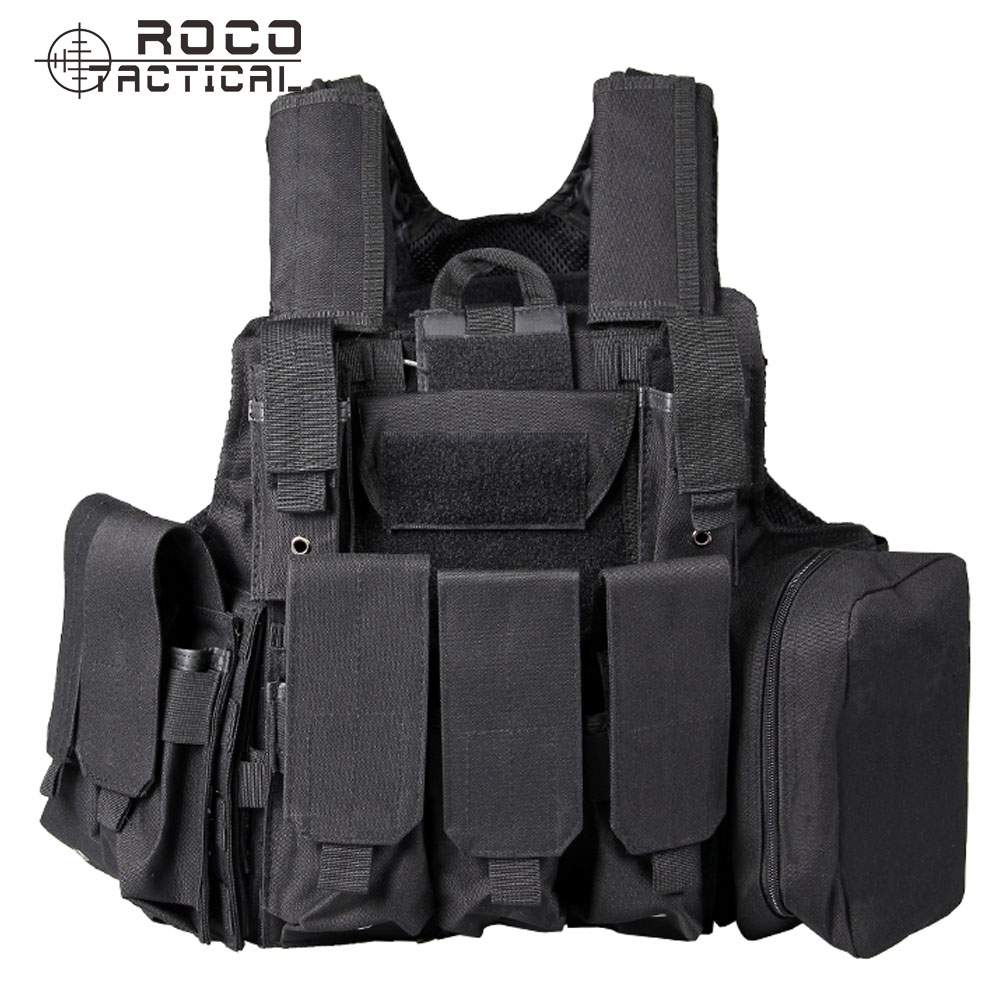 ROCOTACTICAL Molle CIRAS Tactical Vest Airsoft Paintball Hunting Vest W/Magazine Pouch & Utility Bag Armor Carrier Vest CP ACU military molle admin front vest ammo storage pouch magazine utility belt waist bag for hunting shooting paintball cf game