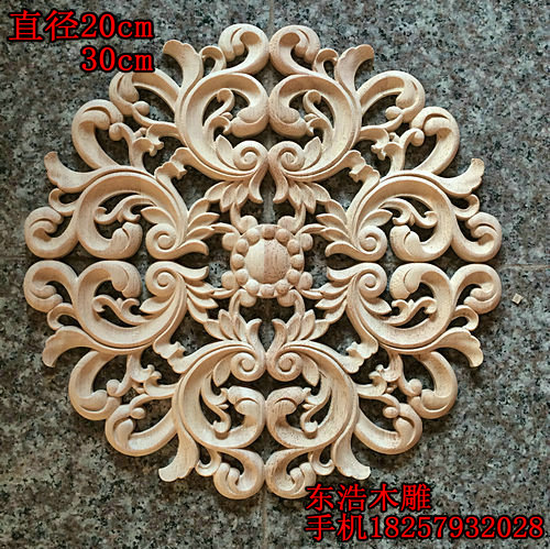Fashion circle flower wood shavings door cabinet furniture applique wood shavings dongyang wood carving decoration