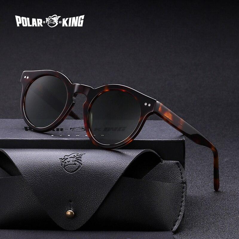 POLARKING Brand Designer Polarized Sunglasses For Men Traveling Retro Unisex Acetate Rivet Sun Glasses Driving Eyewear Oculos
