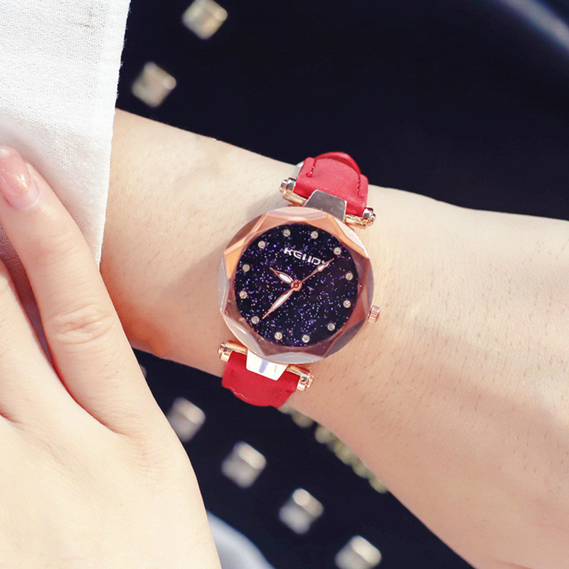 Women Watches Luxury Crystal Starry Sky Dial Female Leather Quartz Wrist Watch Fashion Dress Ladies Watch Clock Gift Reloj Mujer недорого